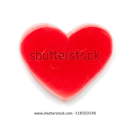 heart shaped candy over white - stock photo