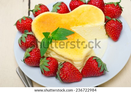 heart shaped cheesecake with strawberryes ideal cake for valentine day - stock photo