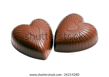 Heart shaped chocolate candy isolated on white - stock photo