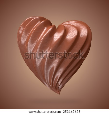 heart shaped chocolate cream, on a gradient background - stock photo