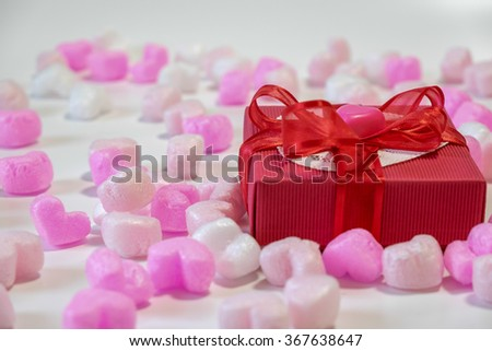 Heart shaped chocolates in a gift box  for Valentine's Day
