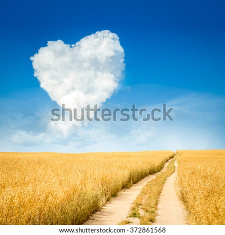 Heart Shaped Cloud and Yellow Field Landscape - stock photo