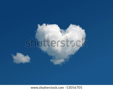heart shaped cloud in the blue sky - stock photo