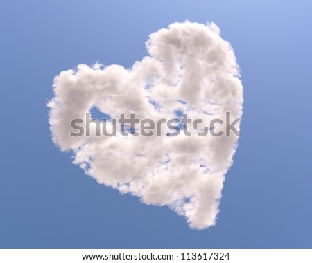 Heart shaped cloud, isolated on blue background