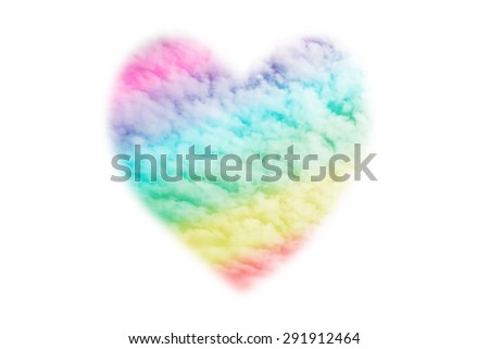 Heart-shaped clouds with a rainbow, symbolizing gay love - stock photo