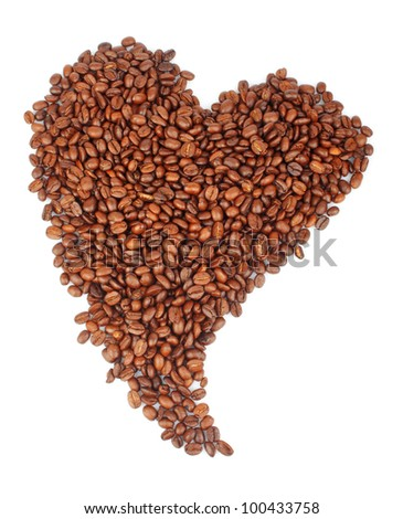 Heart shaped coffee beans isolated on white background, food photo