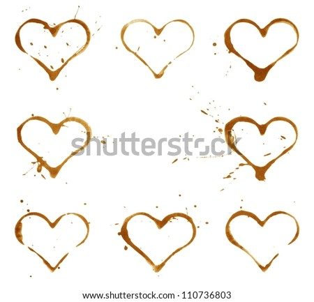 Heart shaped coffee cup prints rings