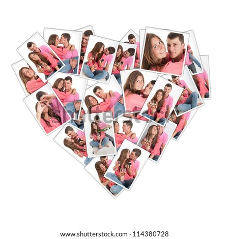Heart shaped collage with pictures of a young couple - stock photo
