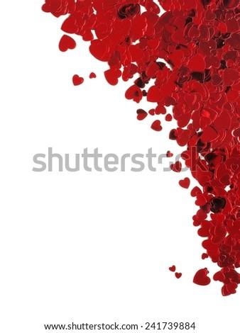 Heart shaped confetti corner border for Valentines Day over white - stock photo