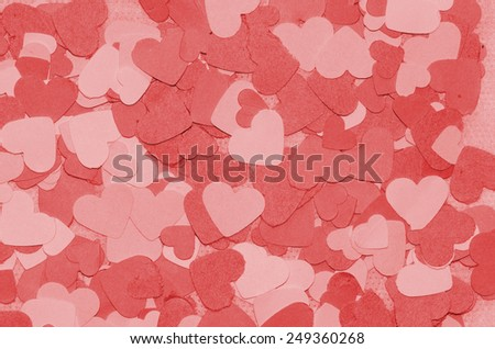 Heart shaped confetti made from recycle color paper / Valentine day / Romantic atmosphere to declare love to the other half, love and peace background - stock photo