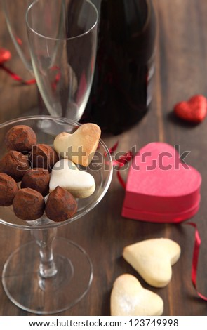 Heart shaped cookies and chocolate truffles  for Valentines Day - stock photo