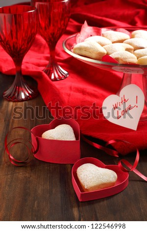 Heart shaped cookies for valentine's day and Card with Message W