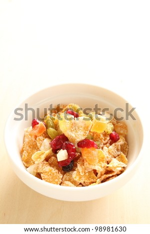Heart shaped cornflakes and  dried fruit