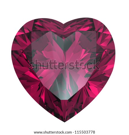 Heart shaped Diamond isolated on a white background. Ruby - stock photo