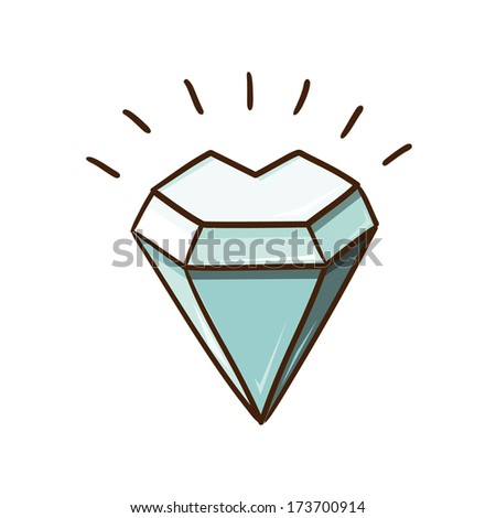 Heart shaped diamond. Sketch design element for Valentine's day