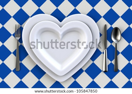 Heart shaped Dish on white table - stock photo