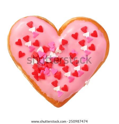 Heart shaped donut isolated on white background - stock photo