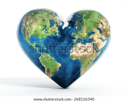 Heart shaped earth isolated on white background. Elements of this image furnished by NASA. - stock photo