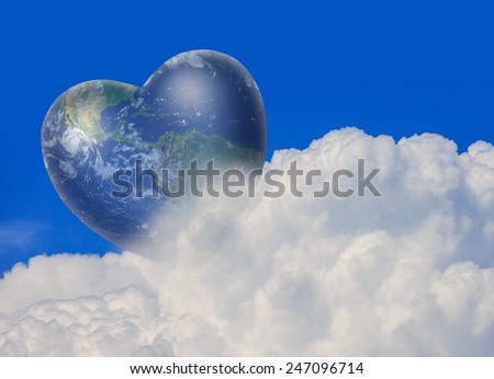 "heart shaped earth surrounded with clouds ""Elements of this image furnished by NASA ""  - stock photo"