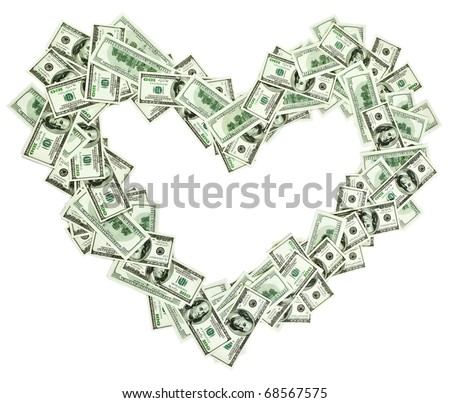 Heart shaped empty frame made with many 100 dollar banknotes isolated on white