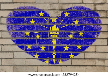 heart shaped flag in colors of indiana on brick wall - stock photo