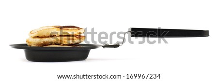 Heart shaped flapjack pancake in a special pan isolated over white background - stock photo