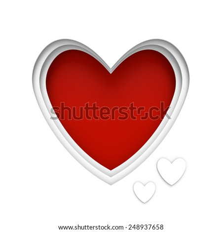 Heart shaped frame over red background with center space for a Valentine's Day message - stock photo