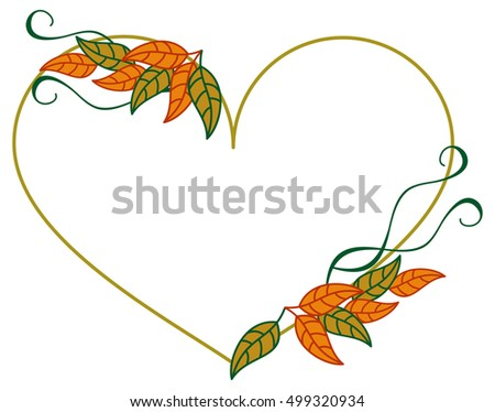 Heart shaped frame with color decorative leaves. Raster clip art.