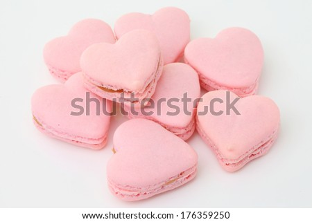 heart shaped French macaroons .Dessert