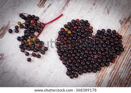 Heart Shaped Fresh Elderberry On Old Stock Photo 361203686