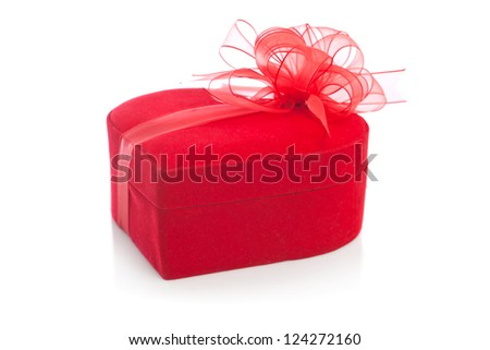 Heart shaped gift box wrapped with ribbon - stock photo