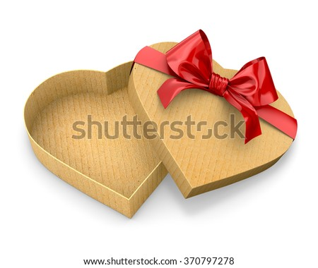 Heart shaped gift cardboard box red bow valentines day 3d render - stock photo