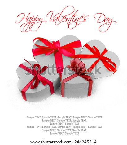 Heart shaped gifts and hearts on white background