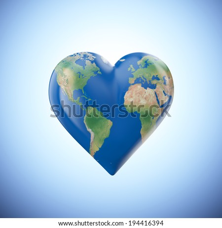 Heart shaped globe with a visible world map - stock photo