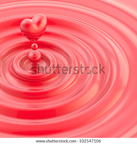 Heart shaped glossy liquid drop in a red waves background