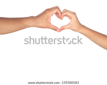 Heart shaped hands isolated on white background