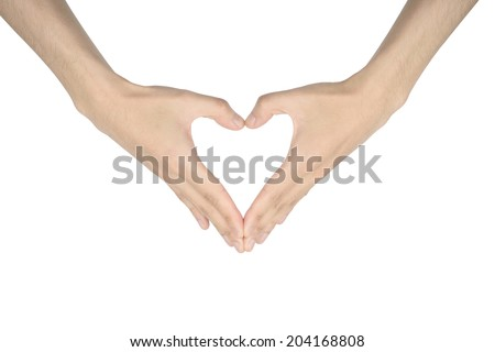 heart shaped hands sign, isolated on white