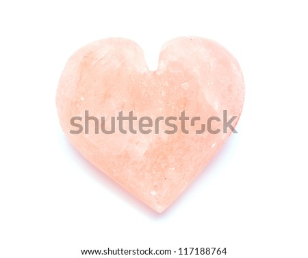 heart-shaped himalayan salt isolated on white background - stock photo
