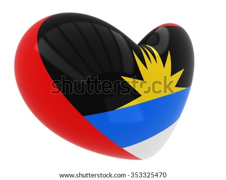 Heart shaped icon with flag of Antigua and Barbuda - stock photo