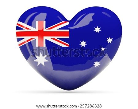 Heart shaped icon with flag of australia isolated on white - stock photo
