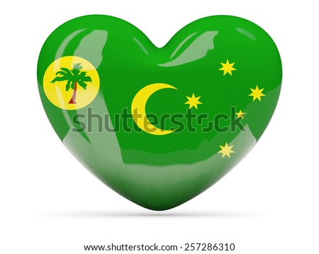 Heart shaped icon with flag of cocos islands isolated on white - stock photo
