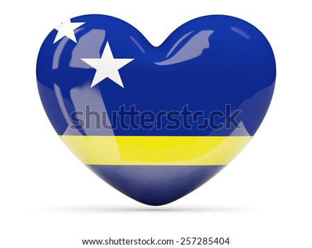 Heart shaped icon with flag of curacao isolated on white