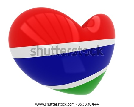 Heart shaped icon with flag of Gambia - stock photo
