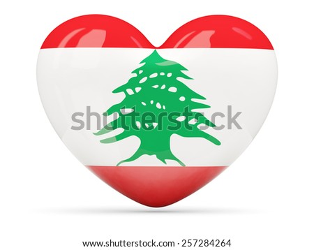 Heart shaped icon with flag of lebanon isolated on white
