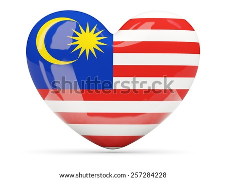 Heart shaped icon with flag of malaysia isolated on white - stock photo