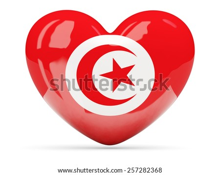 Heart shaped icon with flag of tunisia isolated on white