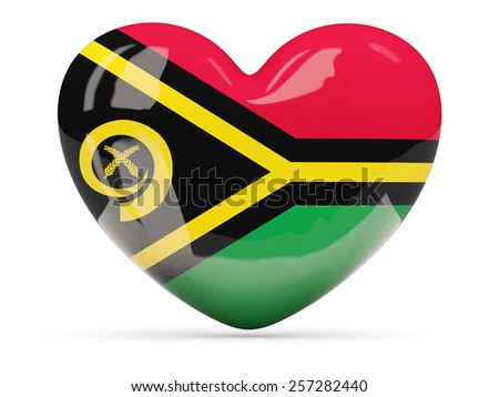 Heart shaped icon with flag of vanuatu,isolated on white - stock photo