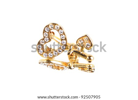 Heart-shaped jewelry (brooch) isolated
