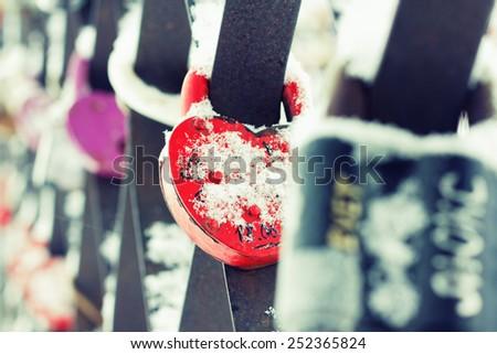 Heart Shaped Love Padlocks, Closeup - stock photo