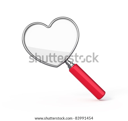 Heart shaped magnifying glass - stock photo